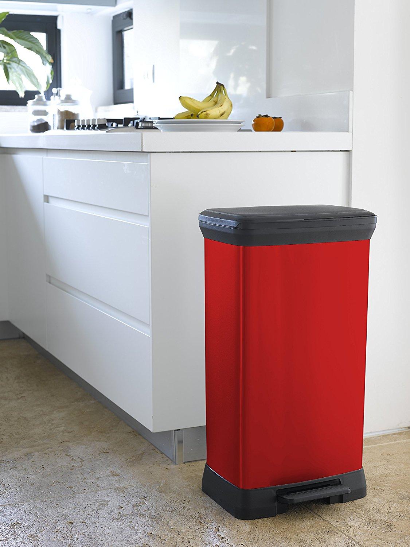 curver poubelle p dale aspect m tal rouge 50 l guide. Black Bedroom Furniture Sets. Home Design Ideas